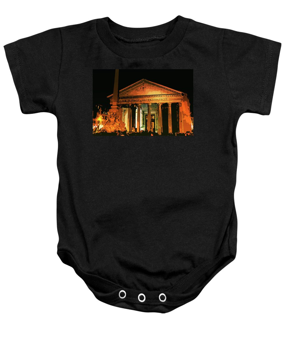 Rome Baby Onesie featuring the painting The Roman Pantheon At Night by Andrea Mazzocchetti