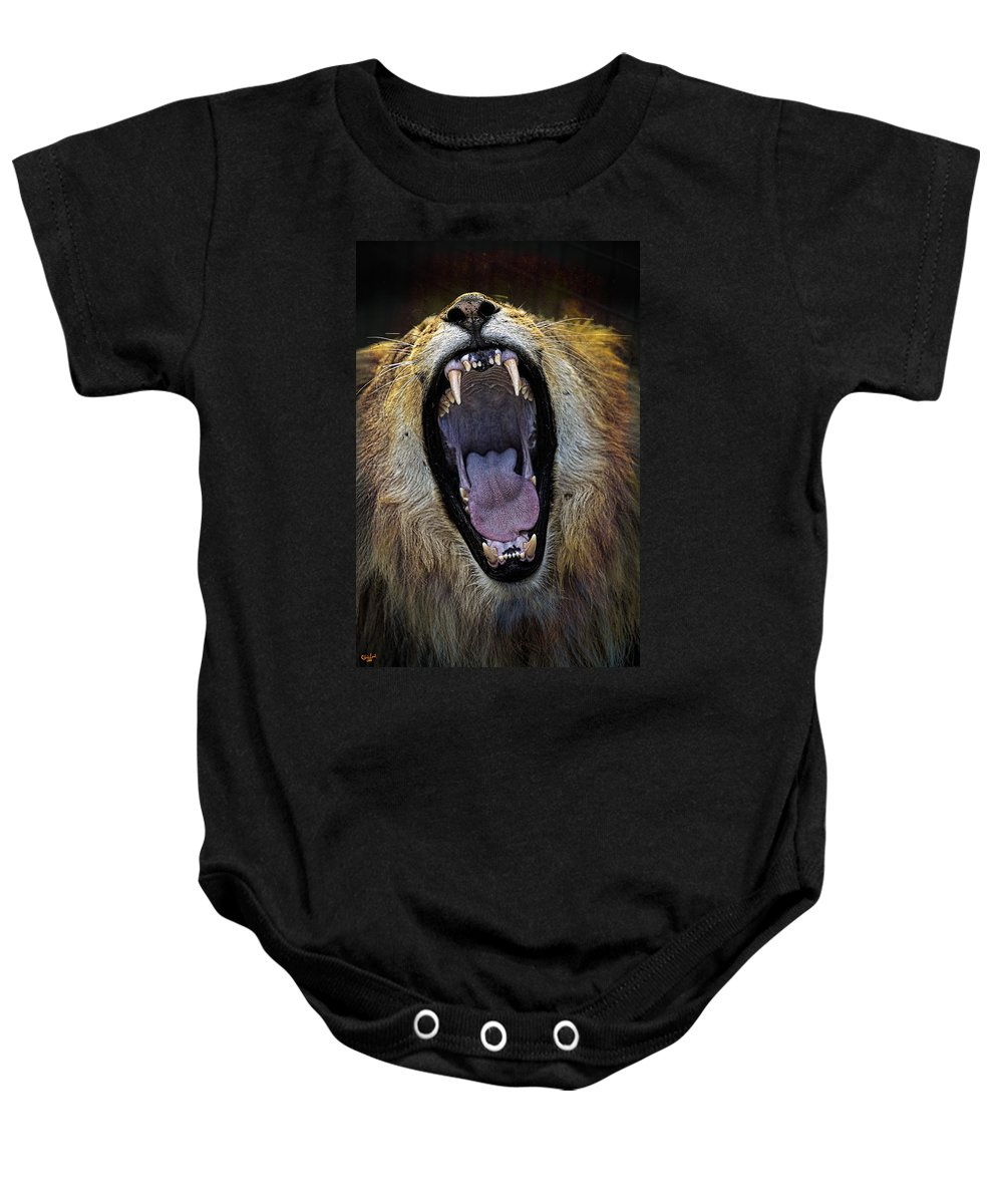 Yawn Baby Onesie featuring the photograph The Royal Yawn by Chris Lord