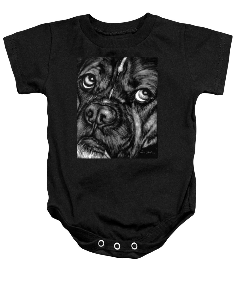 Animals Baby Onesie featuring the painting The Sad Boxer by Portraits By NC