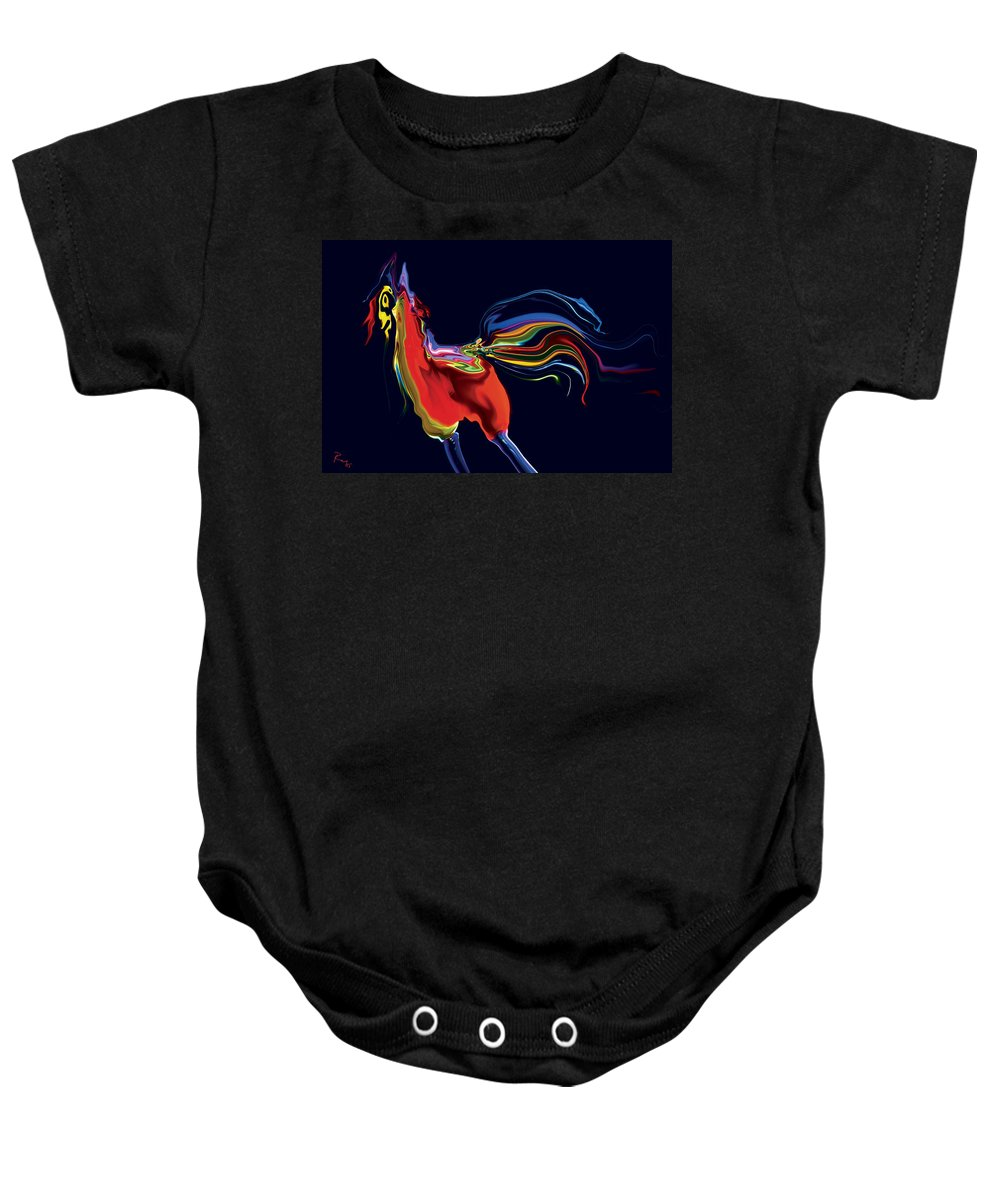 Red Baby Onesie featuring the digital art The Scared Rooster by Rabi Khan