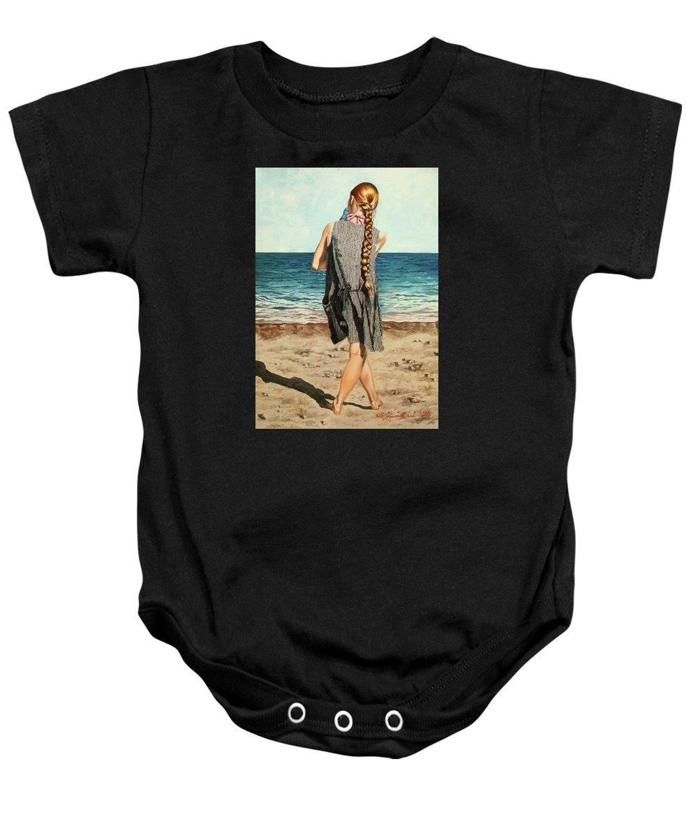 Sea Baby Onesie featuring the painting The Secret Beauty - La Belleza Secreta by Rezzan Erguvan-Onal