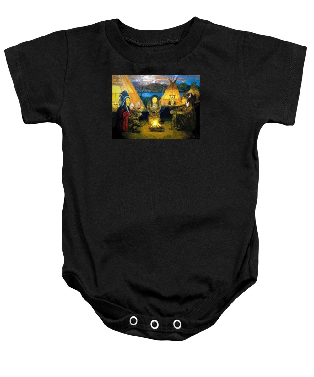 Art Baby Onesie featuring the painting The Shamans Council by Larry Lamb