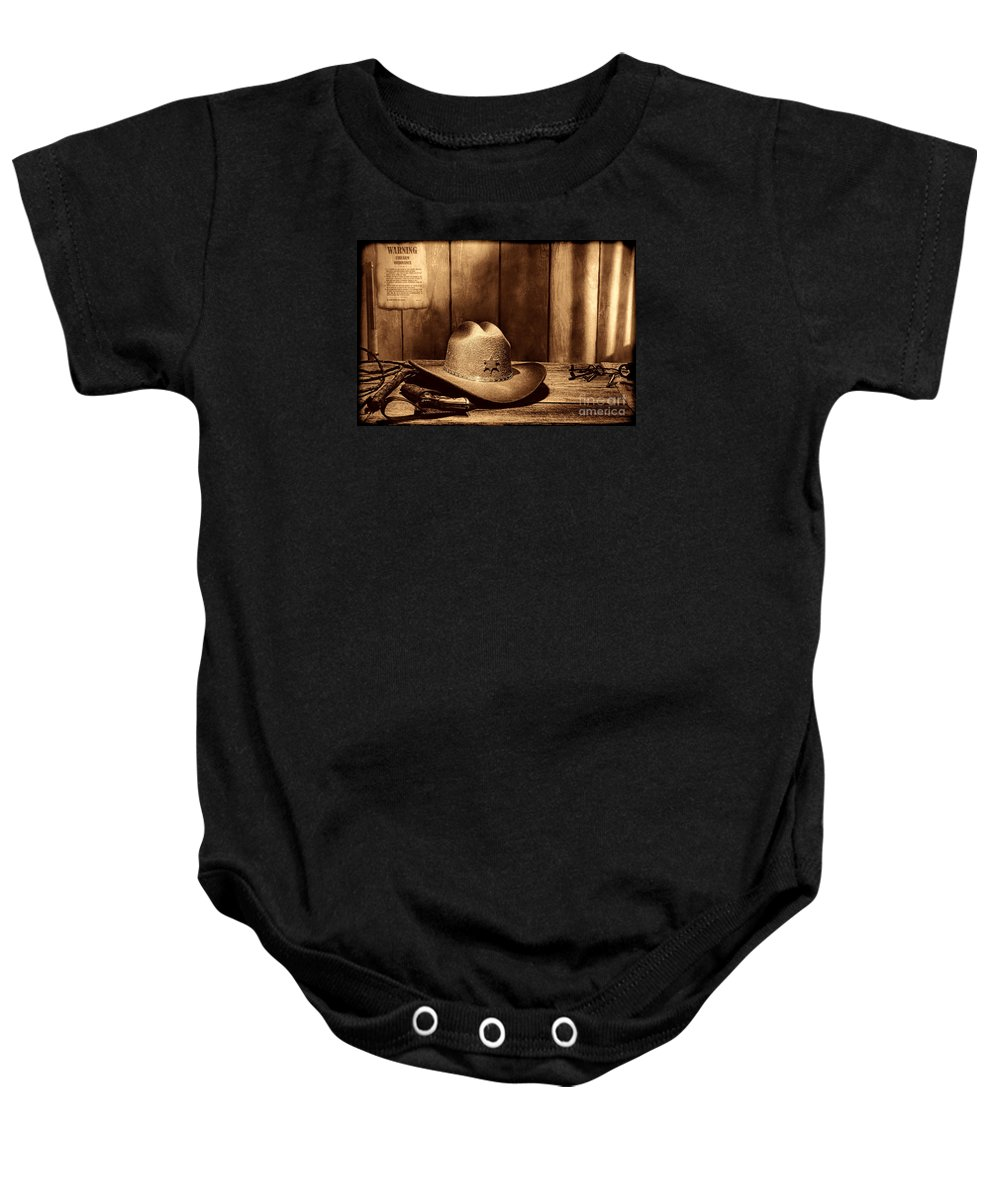 Antique Baby Onesie featuring the photograph The Sheriff Office by American West Legend By Olivier Le Queinec