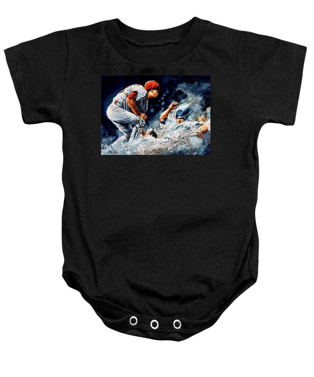 Sports Art Baby Onesie featuring the painting The Slide by Hanne Lore Koehler