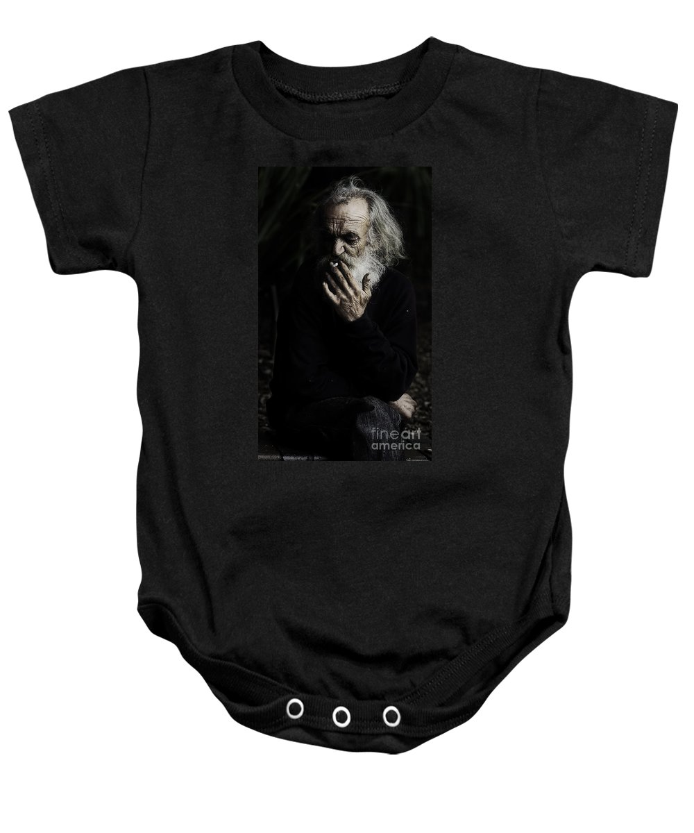 Homeless Male Smoking Smoker Aged Baby Onesie featuring the photograph The Smoker by Sheila Smart Fine Art Photography