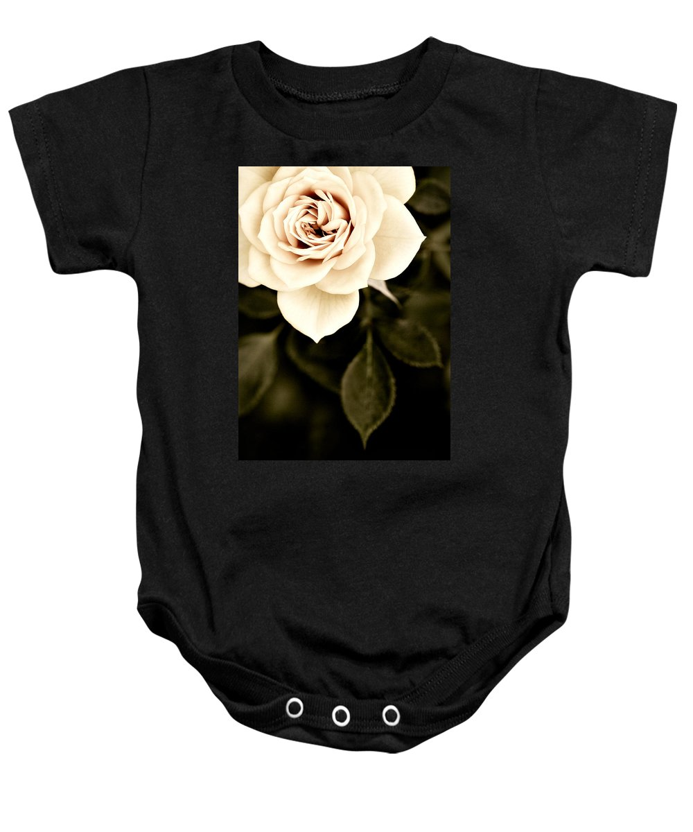 Rose Baby Onesie featuring the photograph The Softest Rose by Marilyn Hunt