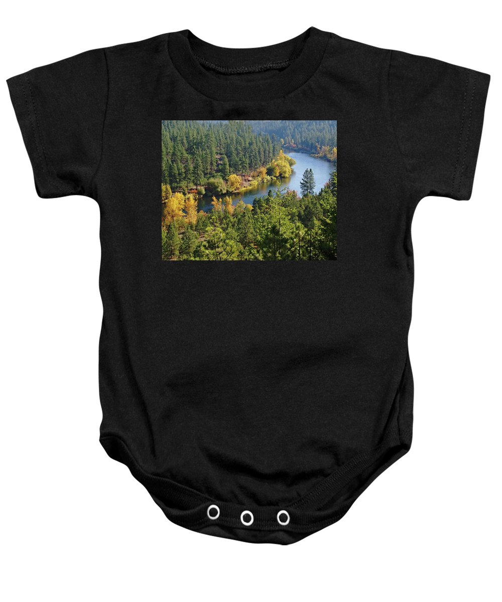 Nature Baby Onesie featuring the photograph The Spokane River by Ben Upham III