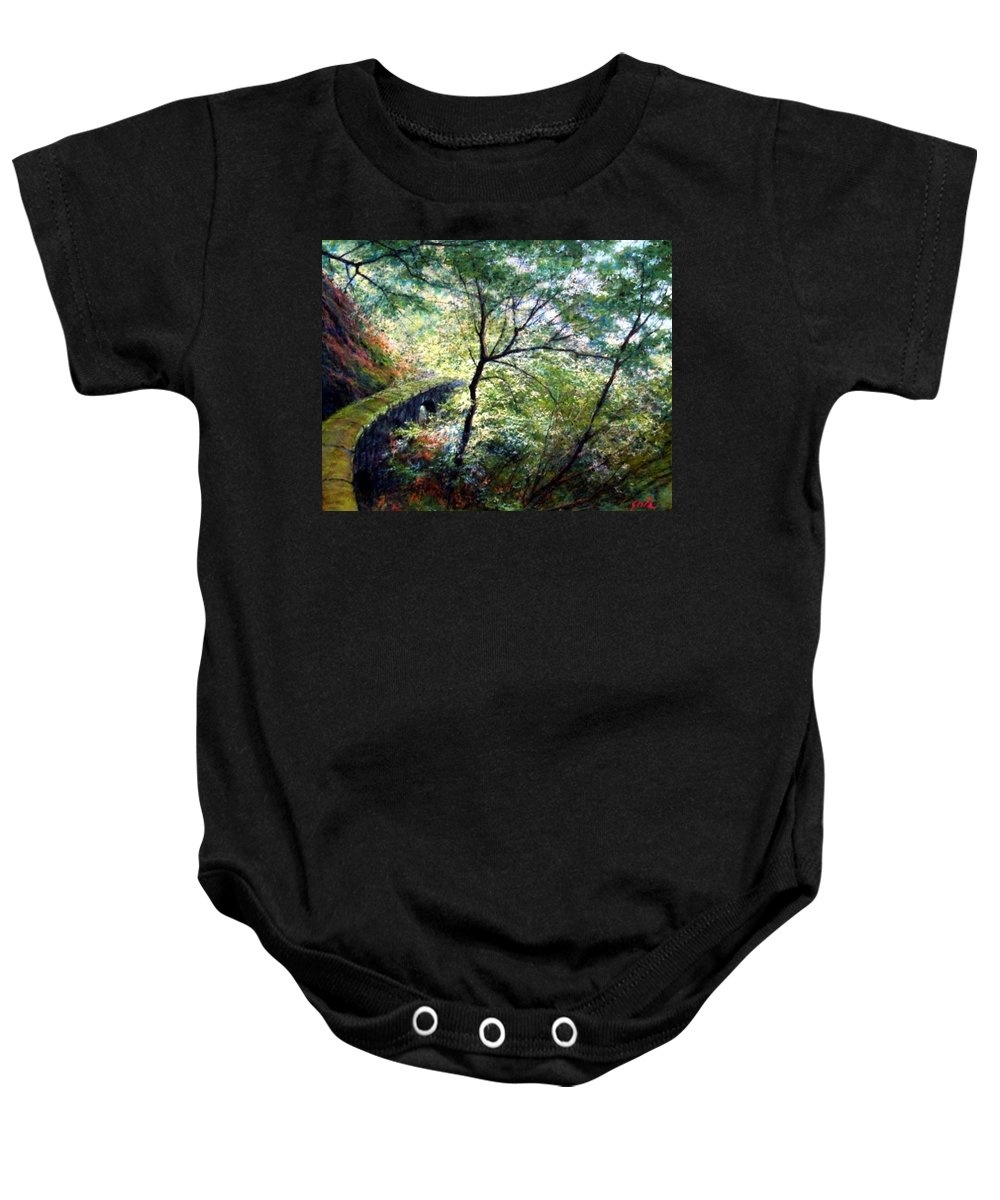 Pastel Baby Onesie featuring the painting The Stone Wall by Jim Gola