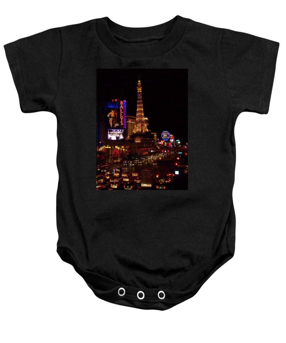 Vegas Baby Onesie featuring the photograph The Strip At Night 2 by Anita Burgermeister