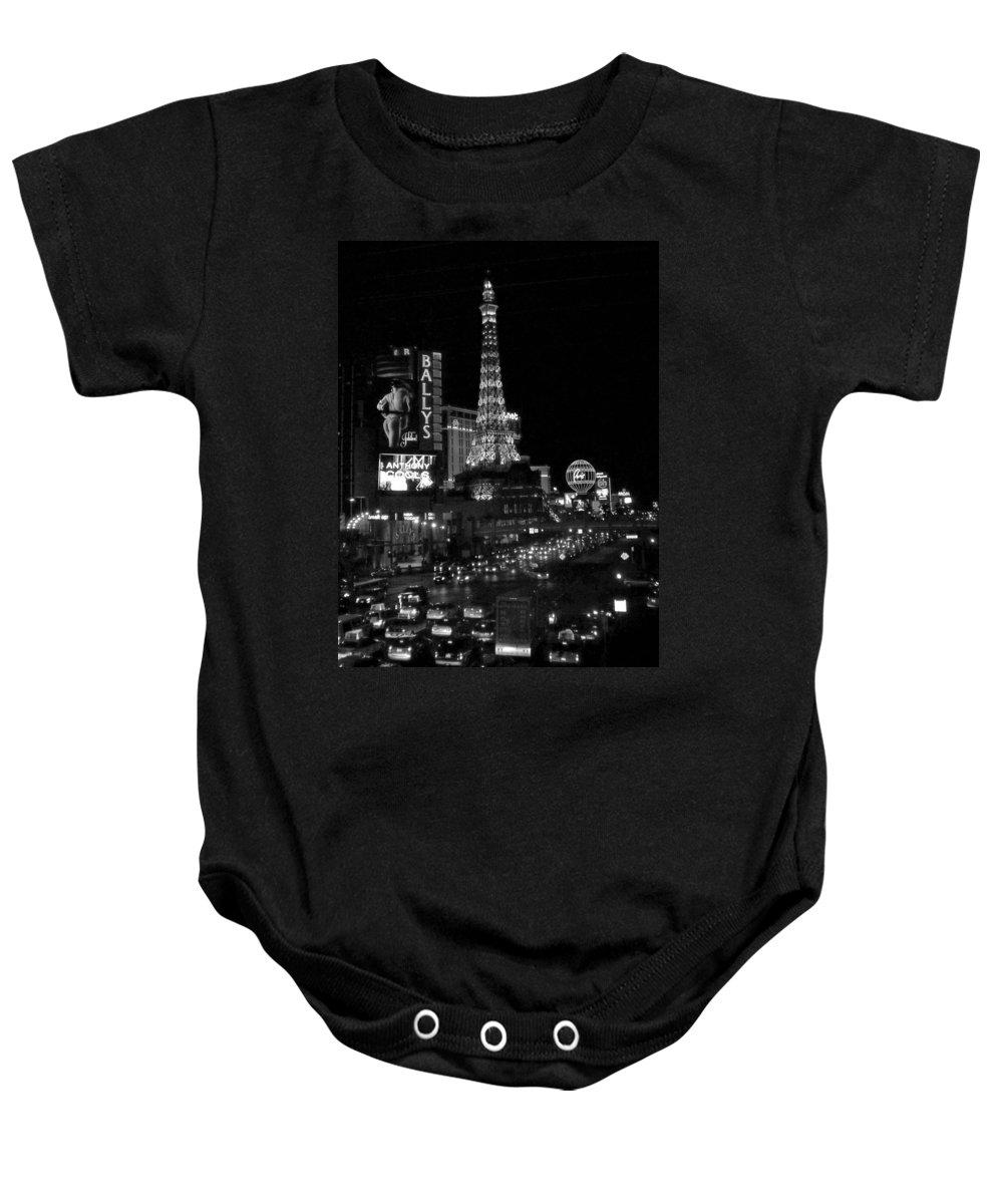 Las Vegas Strip Baby Onesie featuring the photograph The Strip By Night B-w by Anita Burgermeister