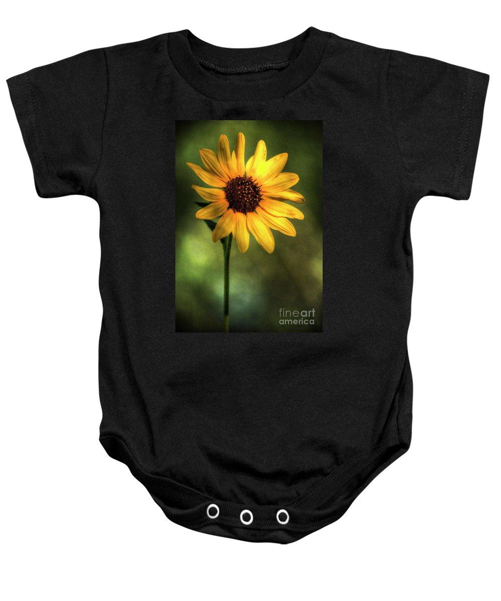 Yellow Sunflower Baby Onesie featuring the photograph The Sunflower by Saija Lehtonen