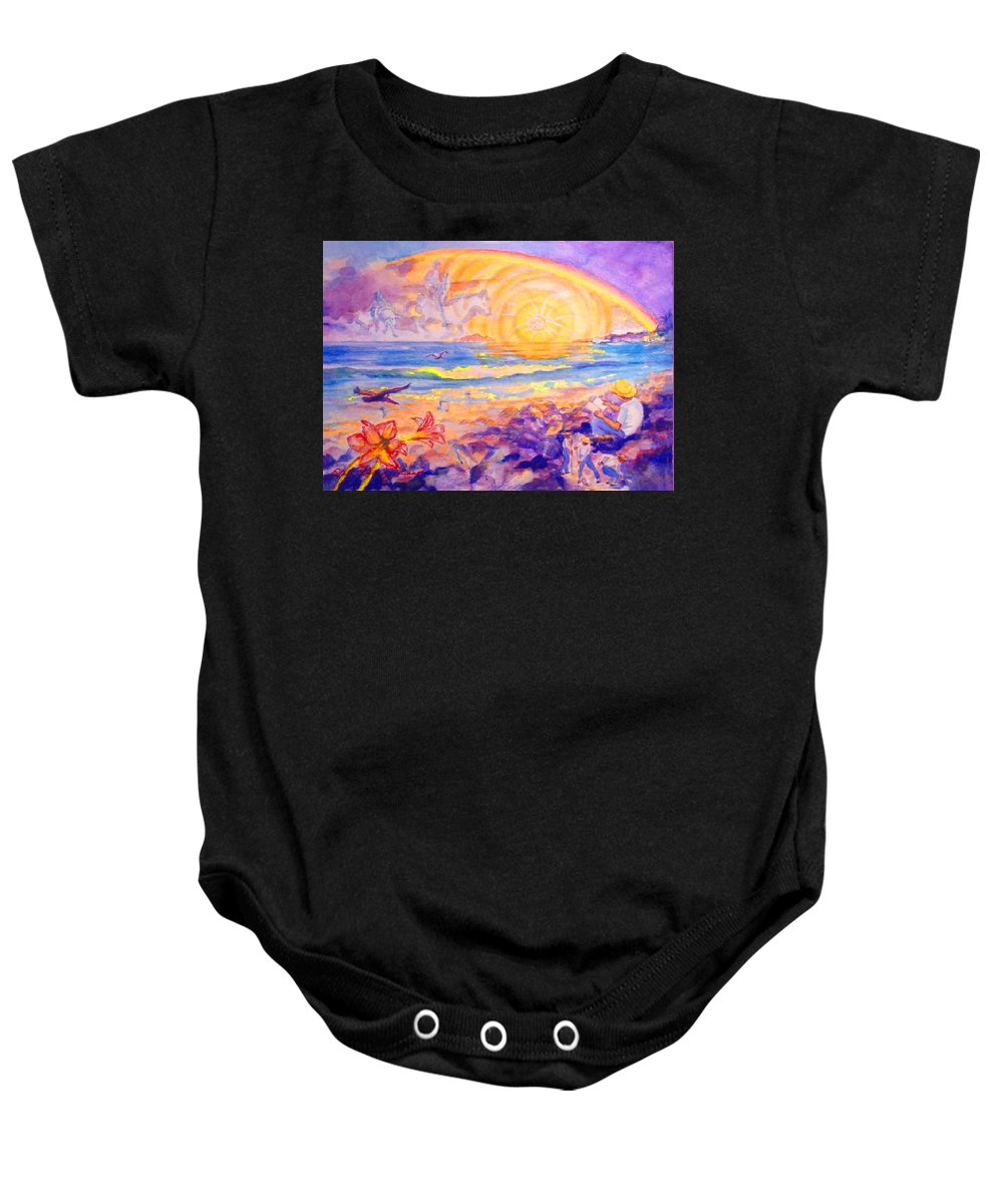 Watercolor Paintings Baby Onesie featuring the painting The Sun's Words by Estela Robles