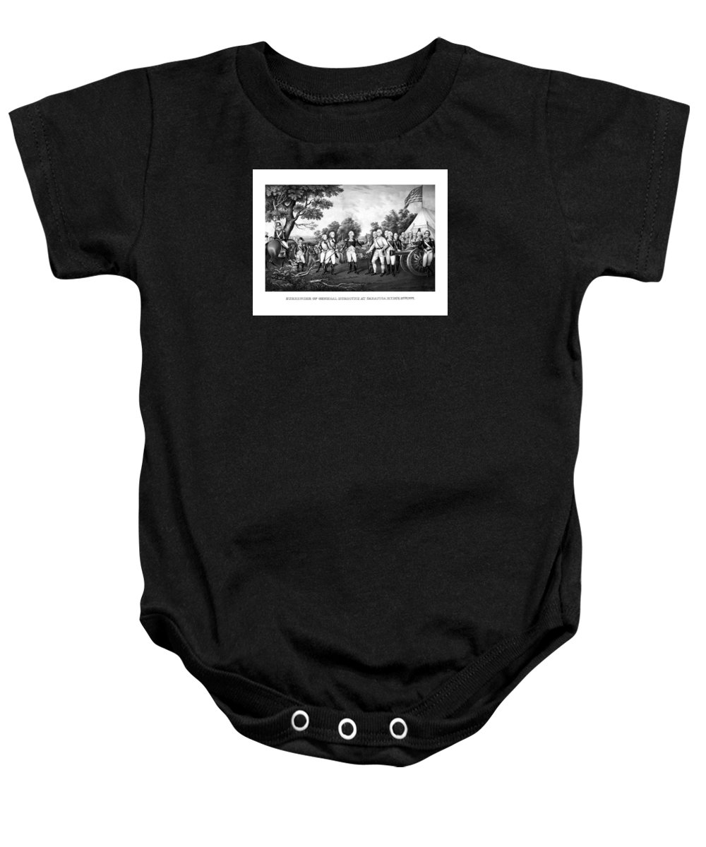 Revolutionary War Baby Onesie featuring the painting The Surrender Of General Burgoyne by War Is Hell Store