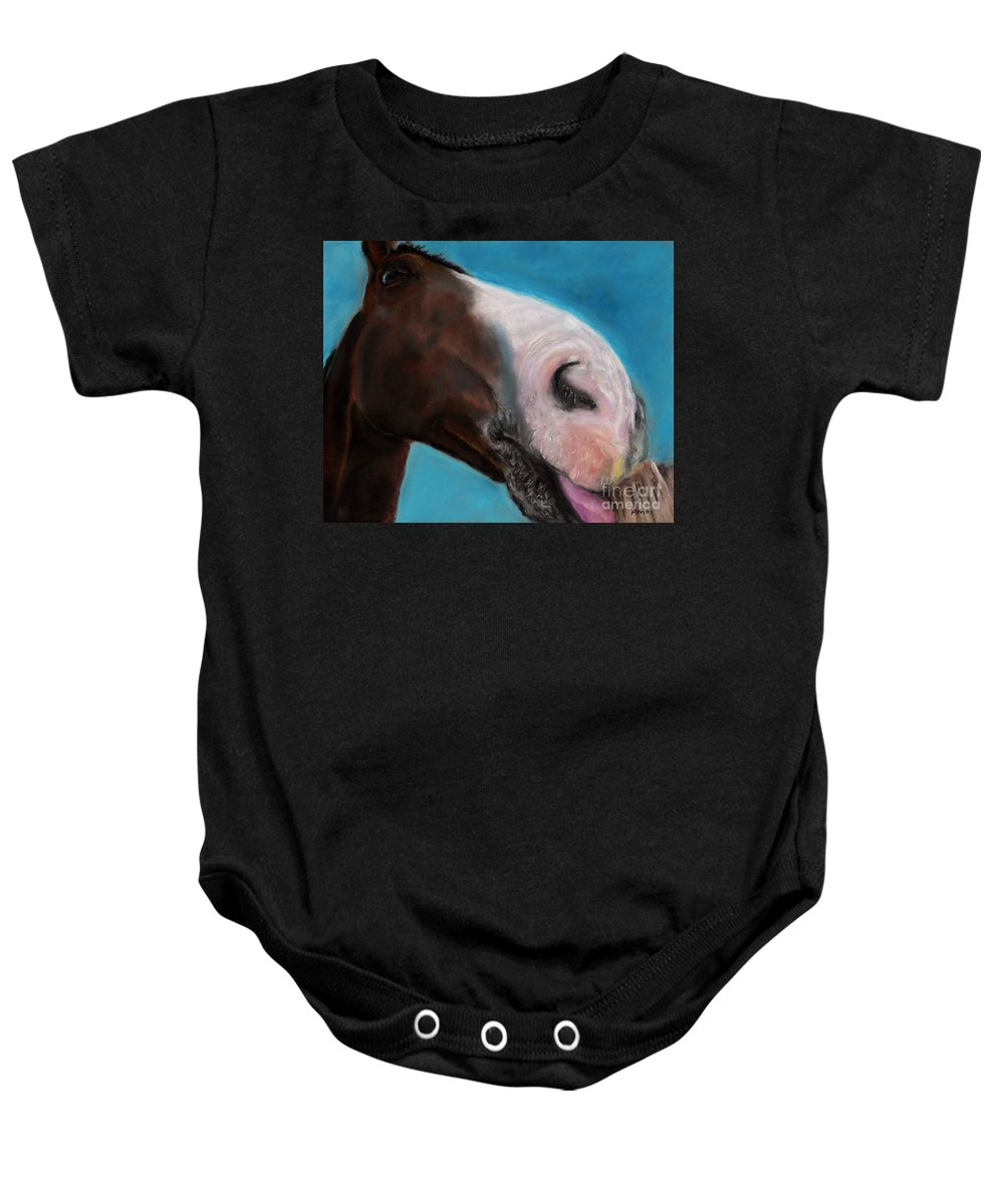 Abstract Horses Baby Onesie featuring the painting The Tasty Post by Frances Marino