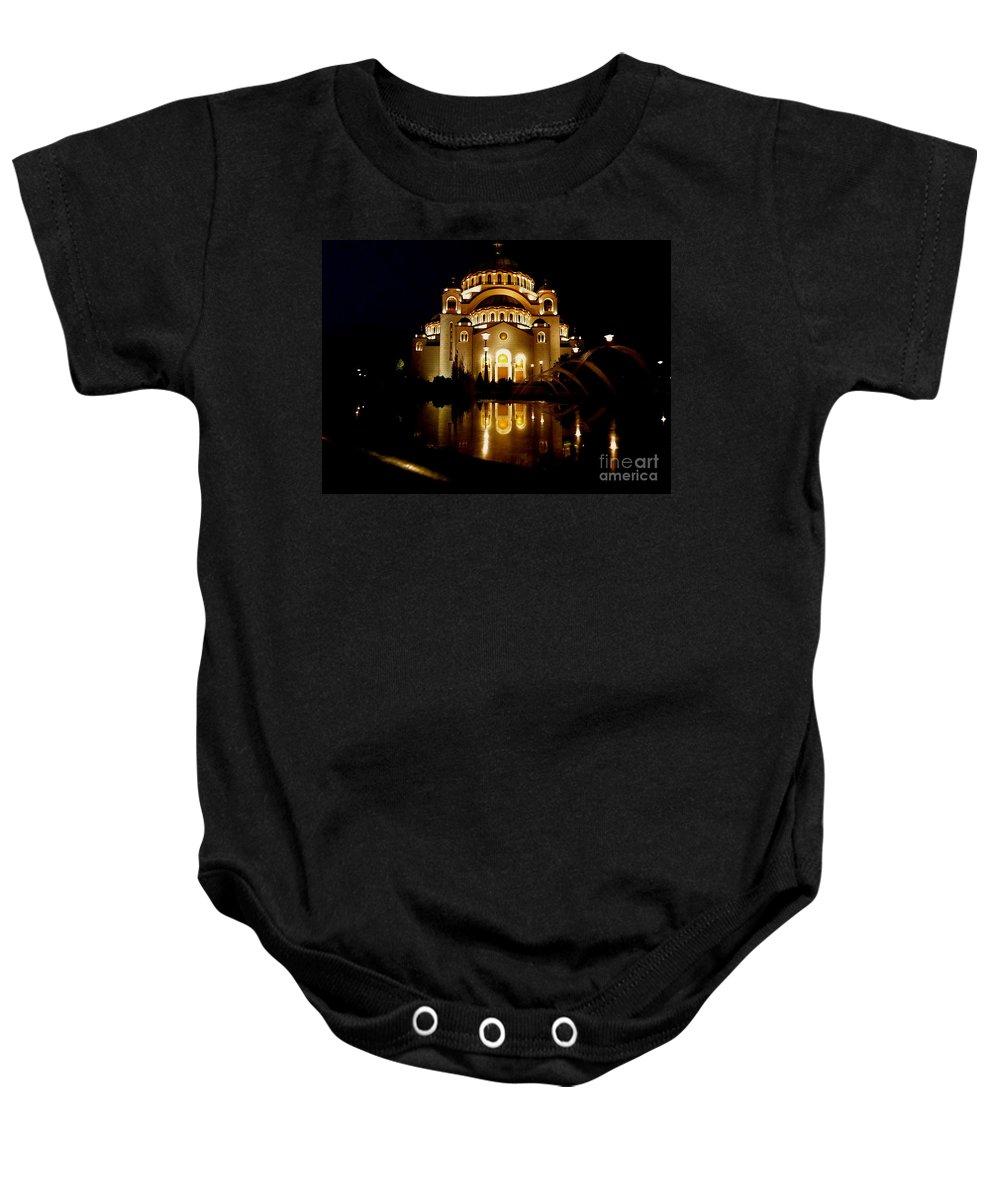 Danica Radman Baby Onesie featuring the photograph The Temple Of Saint Sava In Belgrade by Danica Radman