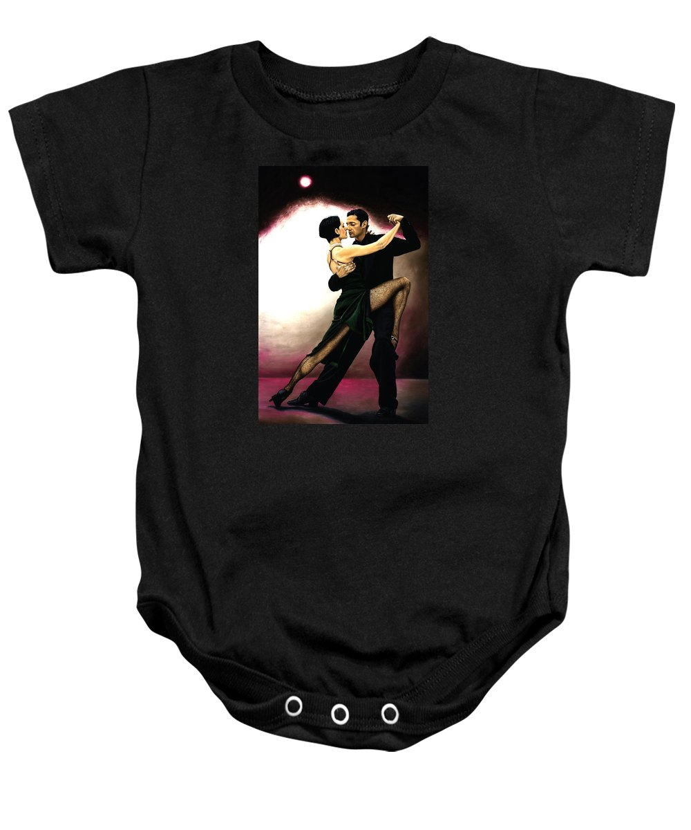 Tango Baby Onesie featuring the painting The Temptation Of Tango by Richard Young