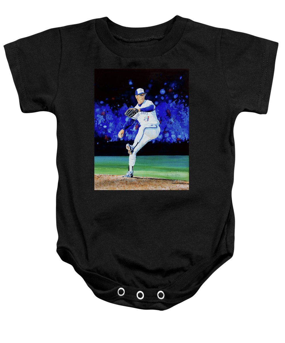 Sports Baby Onesie featuring the painting The Terminator by Hanne Lore Koehler