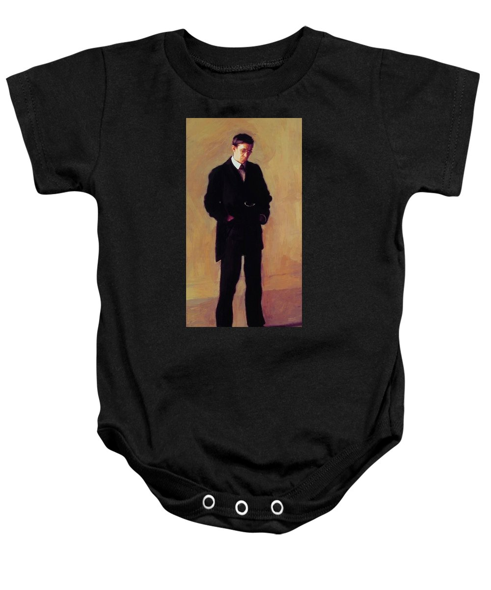 The Baby Onesie featuring the painting The Thinker by Eakins Thomas