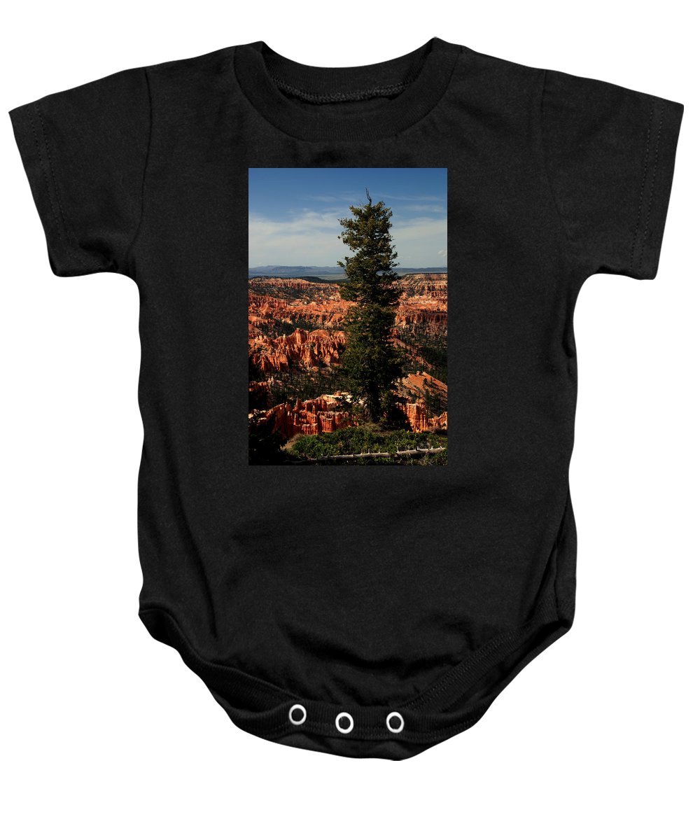 Bryce Canyon Baby Onesie featuring the photograph The Tree In Bryce Canyon by Susanne Van Hulst