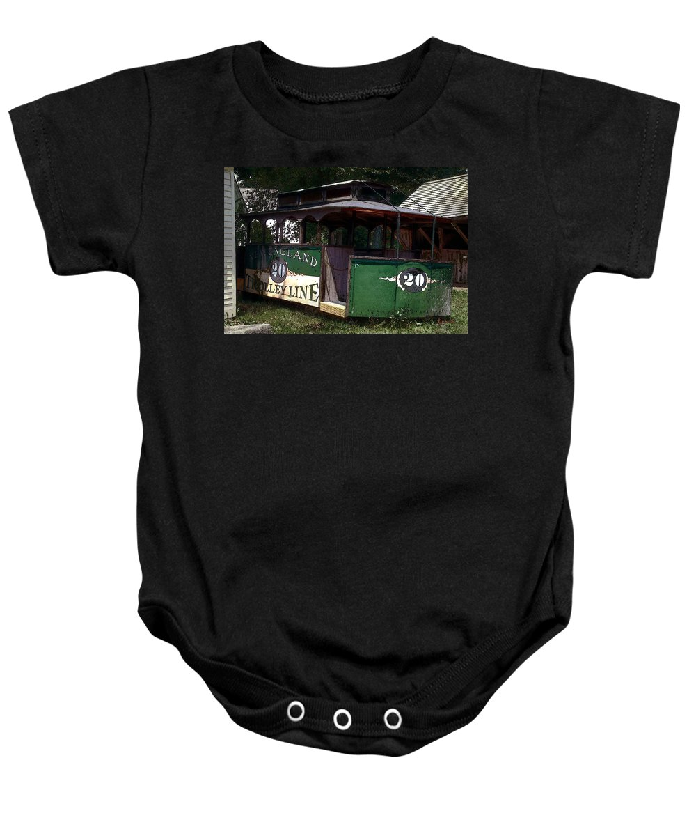 Trolley Baby Onesie featuring the digital art The Trolley Out Back by RC DeWinter