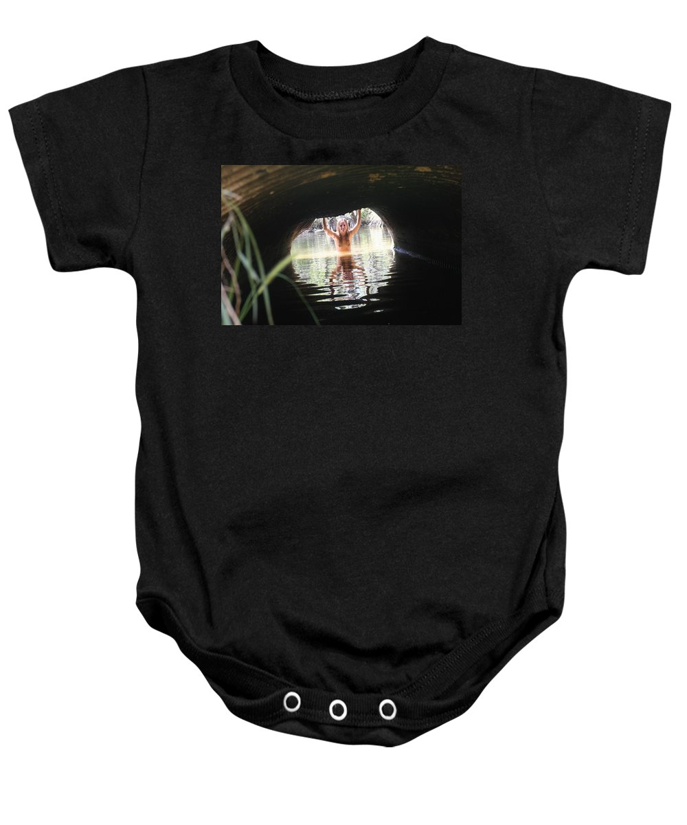 Lucky Cole Everglades Photographer Female Nude Everglades Baby Onesie featuring the photograph The Tunnel 7 by Lucky Cole