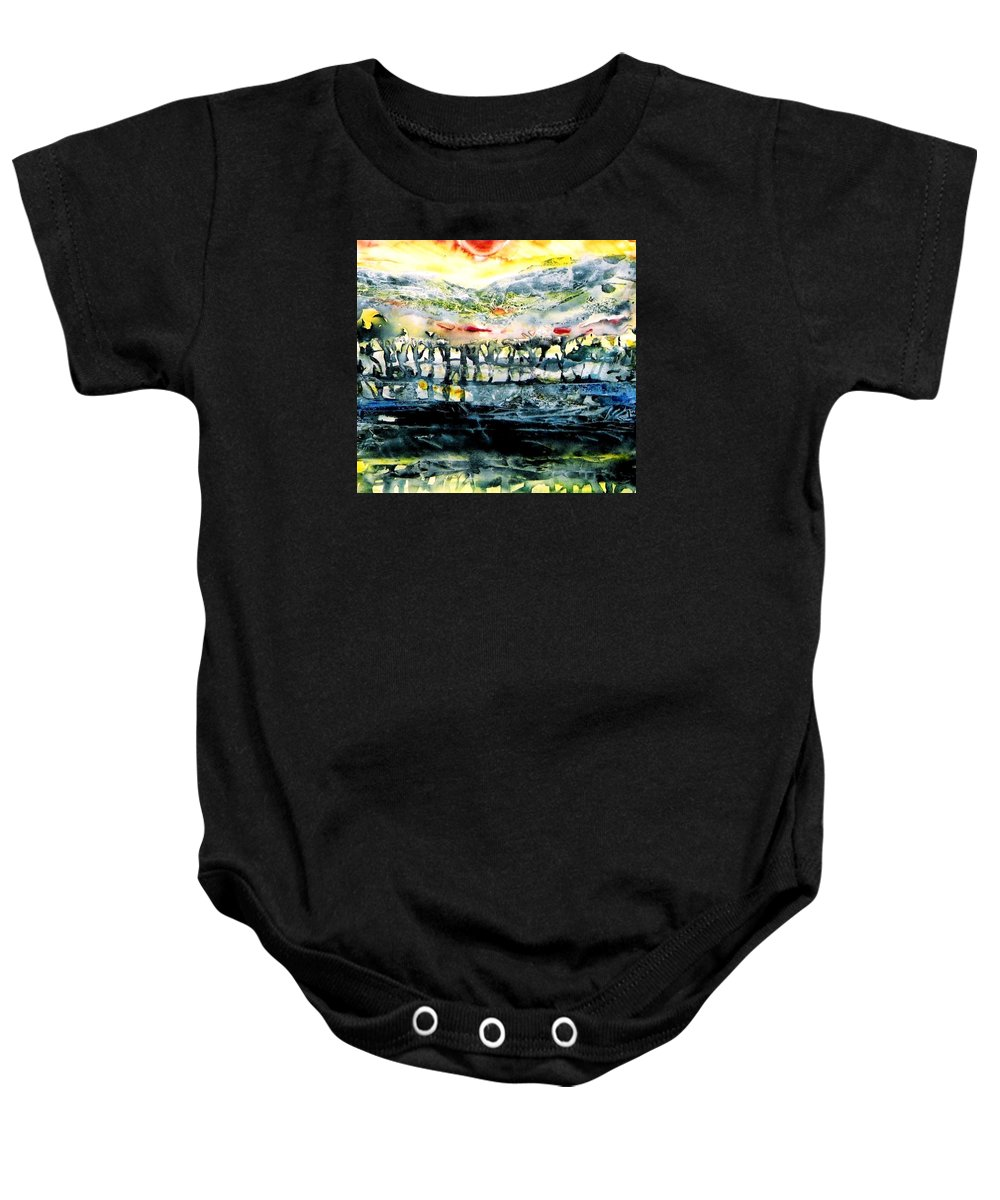 Sunrise Baby Onesie featuring the painting The Twisted Reach Of Crazy Sorrow by Trudi Doyle