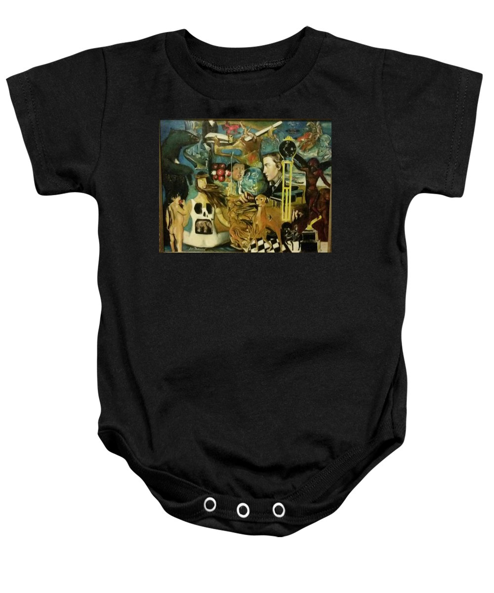 Surrealism Baby Onesie featuring the painting The Ubiquity Of Theotokos by Jude Darrien
