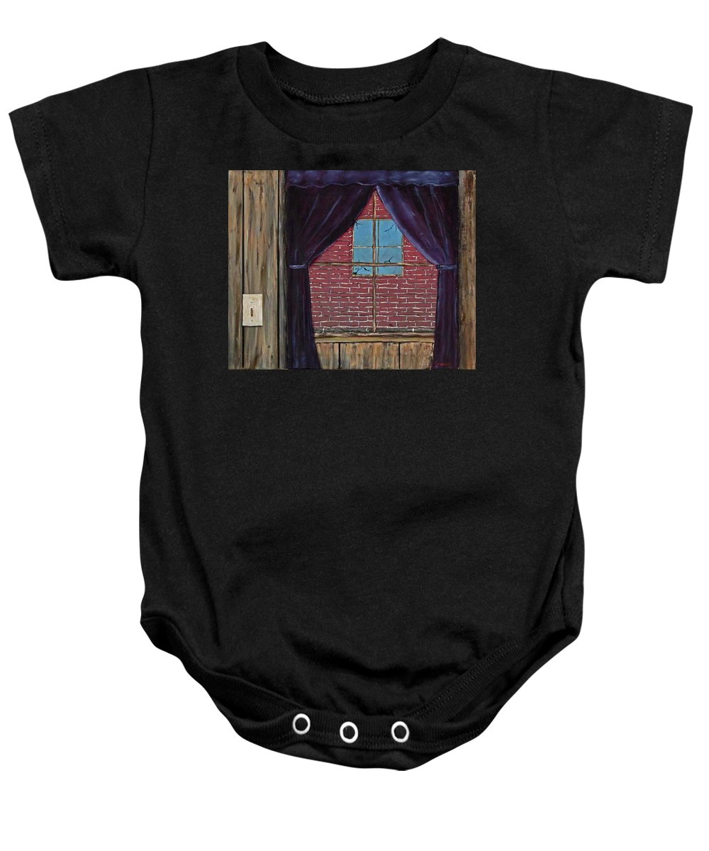 Curtains Baby Onesie featuring the painting The View by Larry Guenther