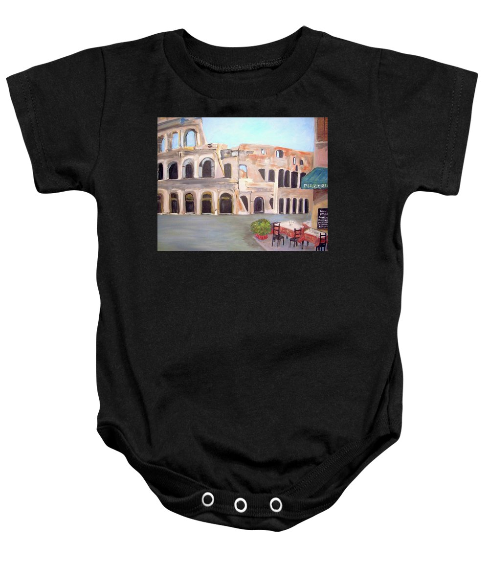 Cityscape Baby Onesie featuring the painting The View Of The Coliseum In Rome by Teresa Dominici