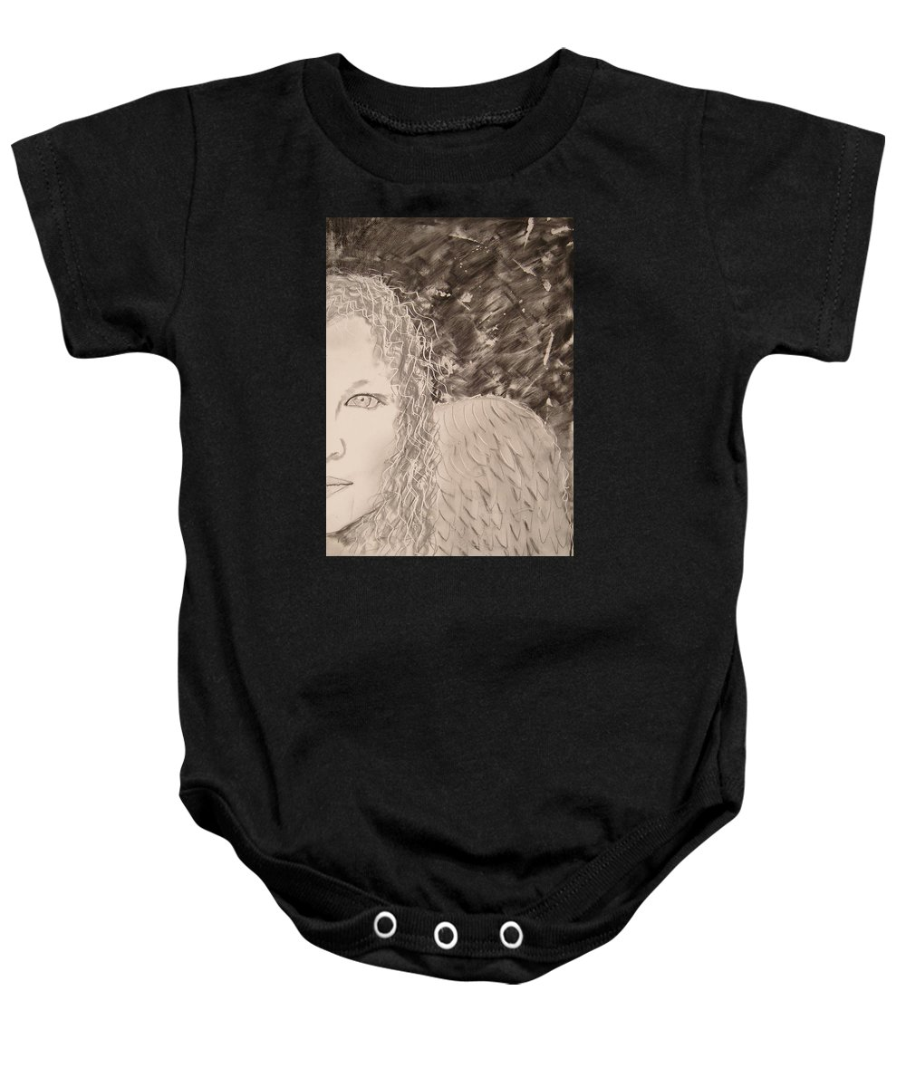 Angel Baby Onesie featuring the drawing The Viewing by J Bauer
