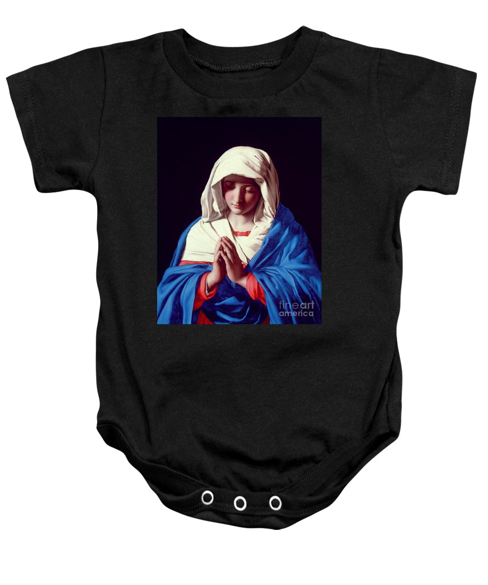 Mary Baby Onesie featuring the painting The Virgin In Prayer by Il Sassoferrato