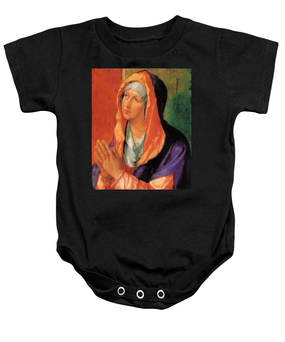 The Baby Onesie featuring the painting The Virgin Mary In Prayer by Durer Albrecht