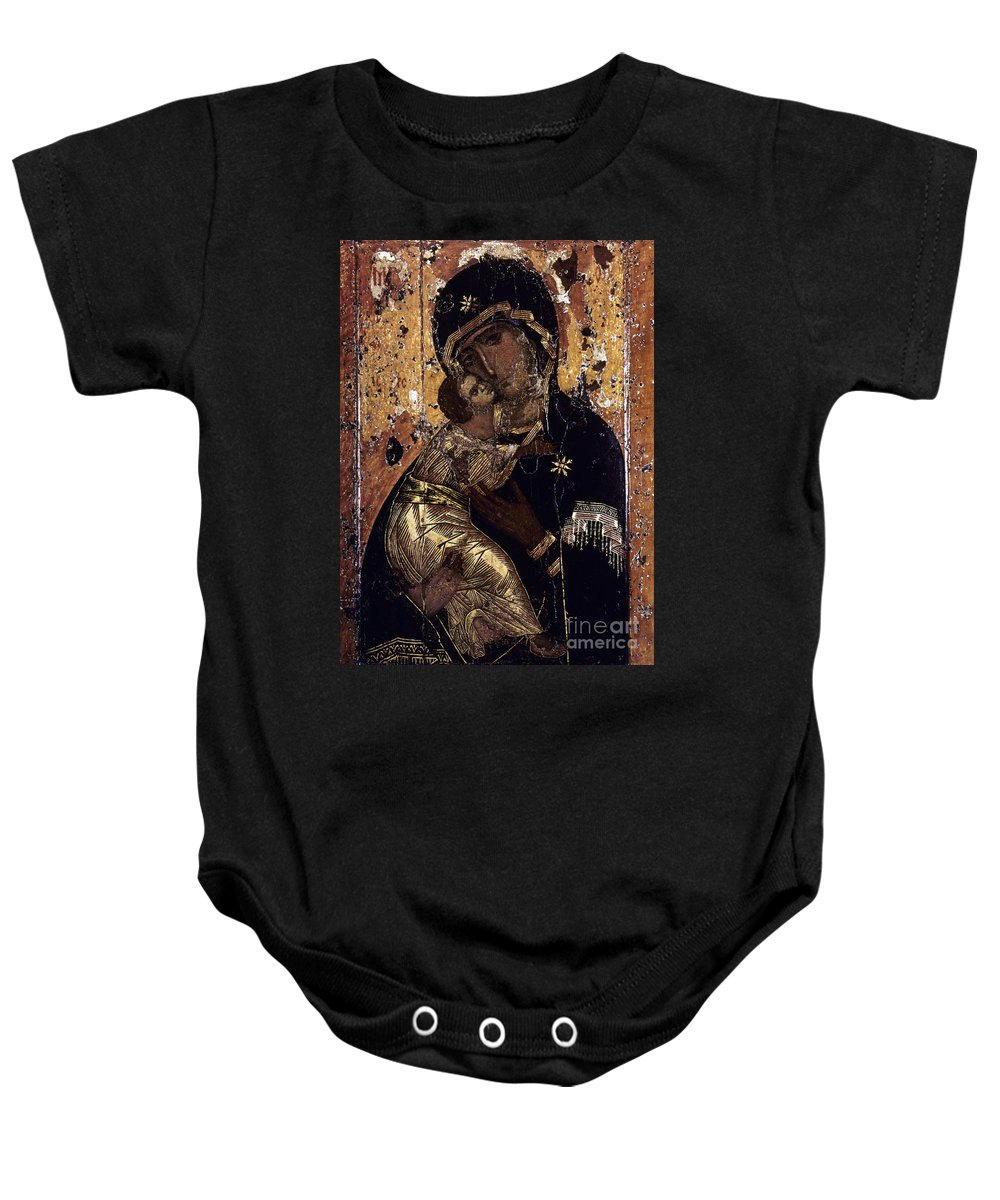 12th Century Baby Onesie featuring the photograph The Virgin Of Vladimir by Granger