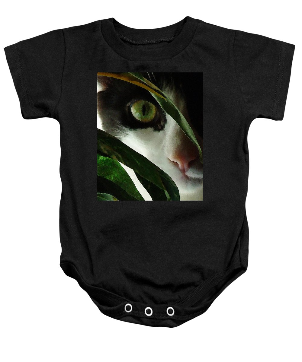 Cat Baby Onesie featuring the photograph The Voyeur by Lynn Andrews