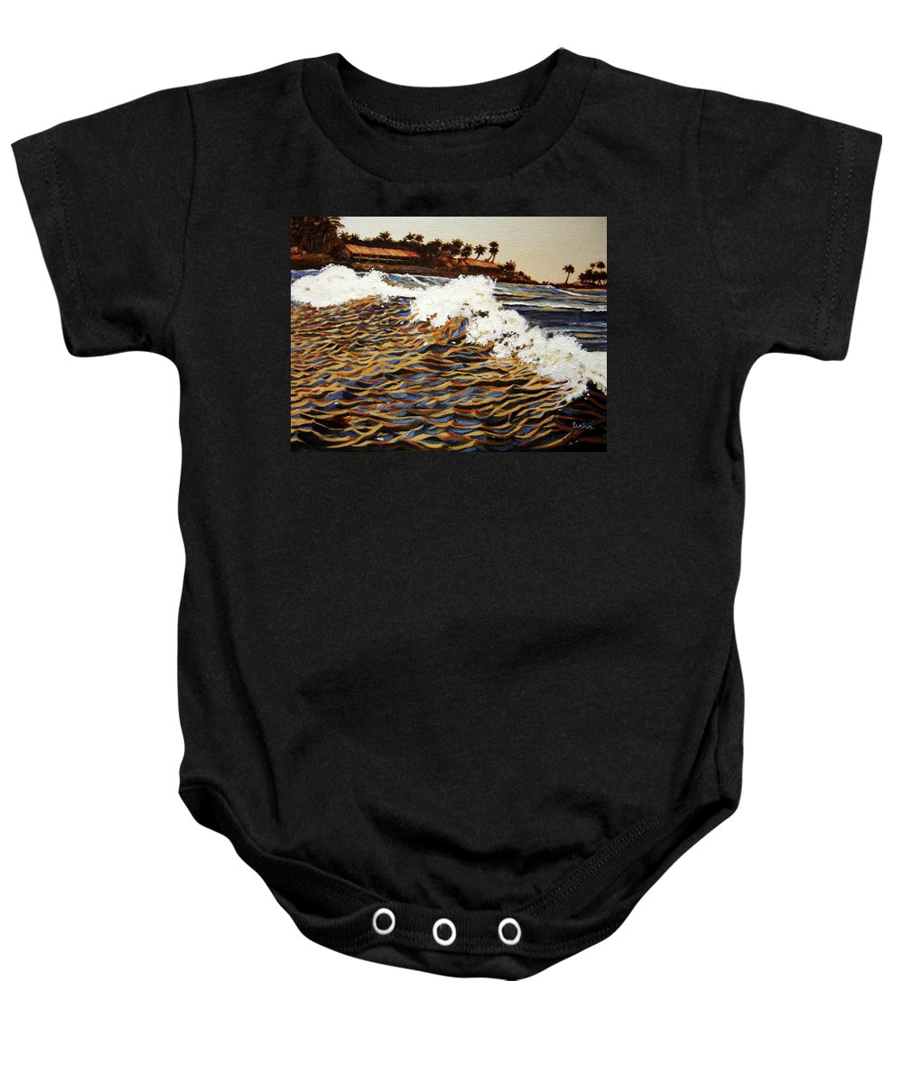Wave Baby Onesie featuring the painting The Wave by Usha Shantharam
