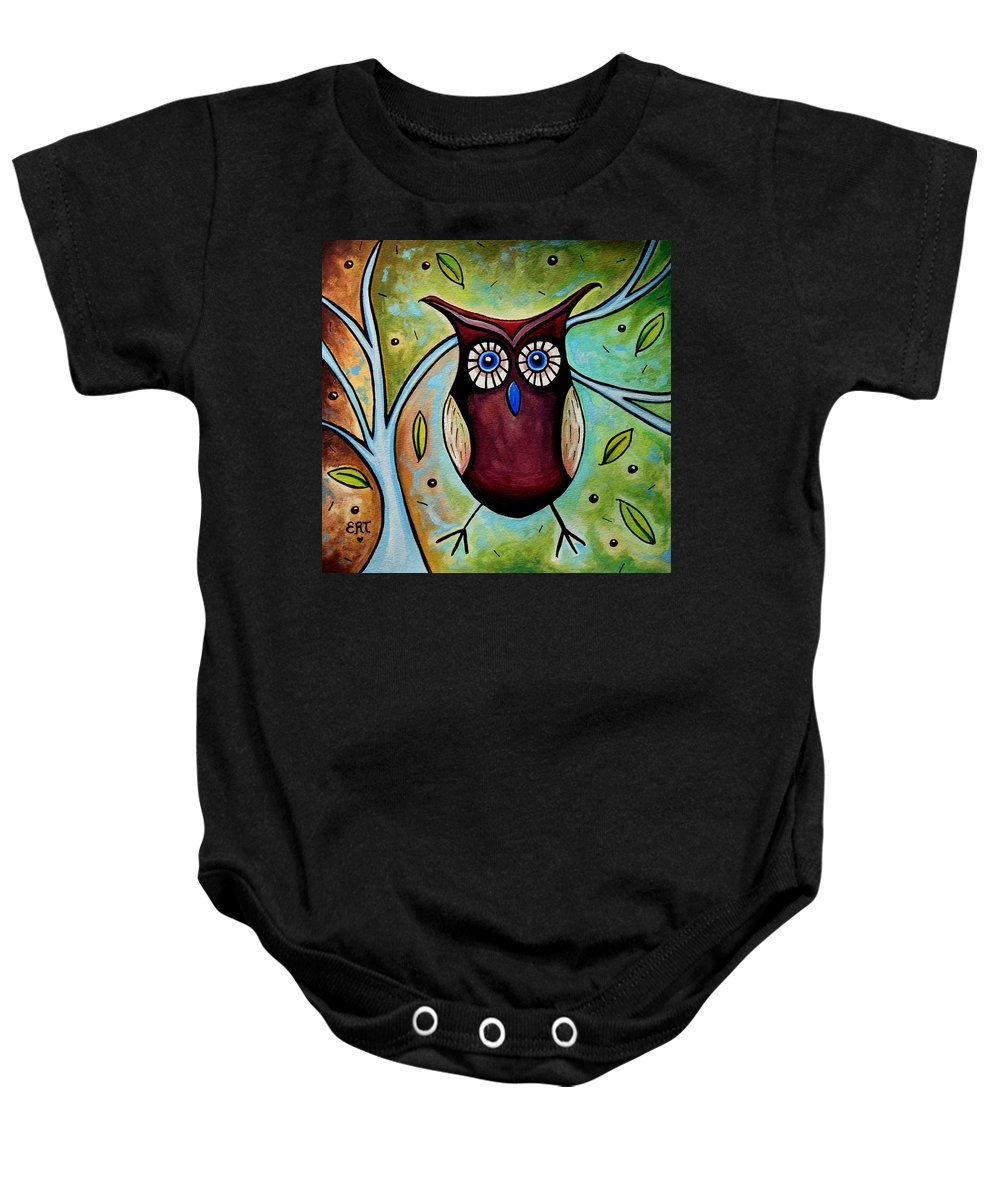 Owl Baby Onesie featuring the painting The Whimsical Owl by Elizabeth Robinette Tyndall