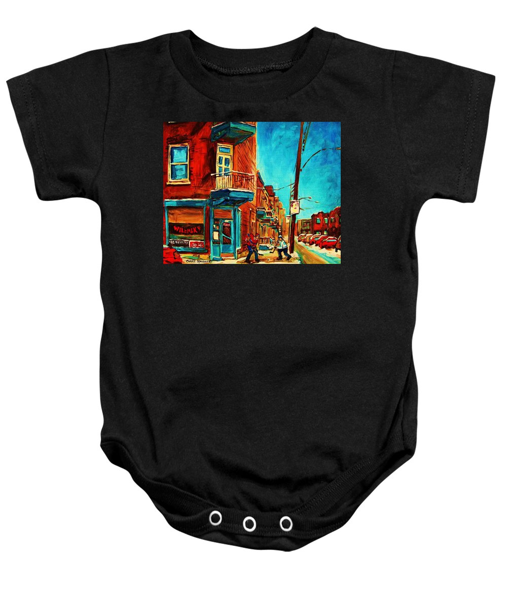 Wilenskys Doorway Baby Onesie featuring the painting The Wilensky Doorway by Carole Spandau