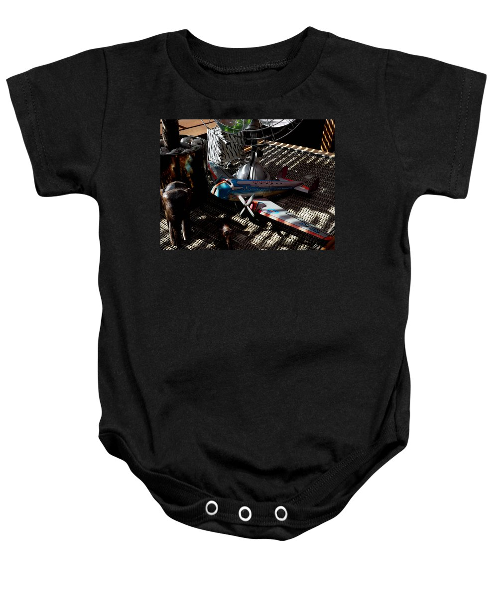 Still Life Baby Onesie featuring the photograph The Zebra In Colour by Charles Stuart
