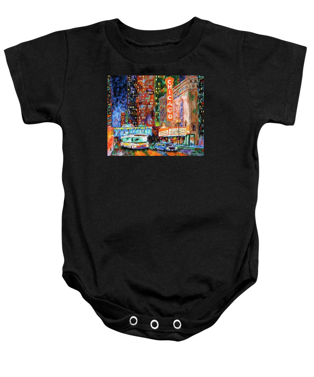 Chicago Theater Baby Onesie featuring the painting Theater Night by J Loren Reedy