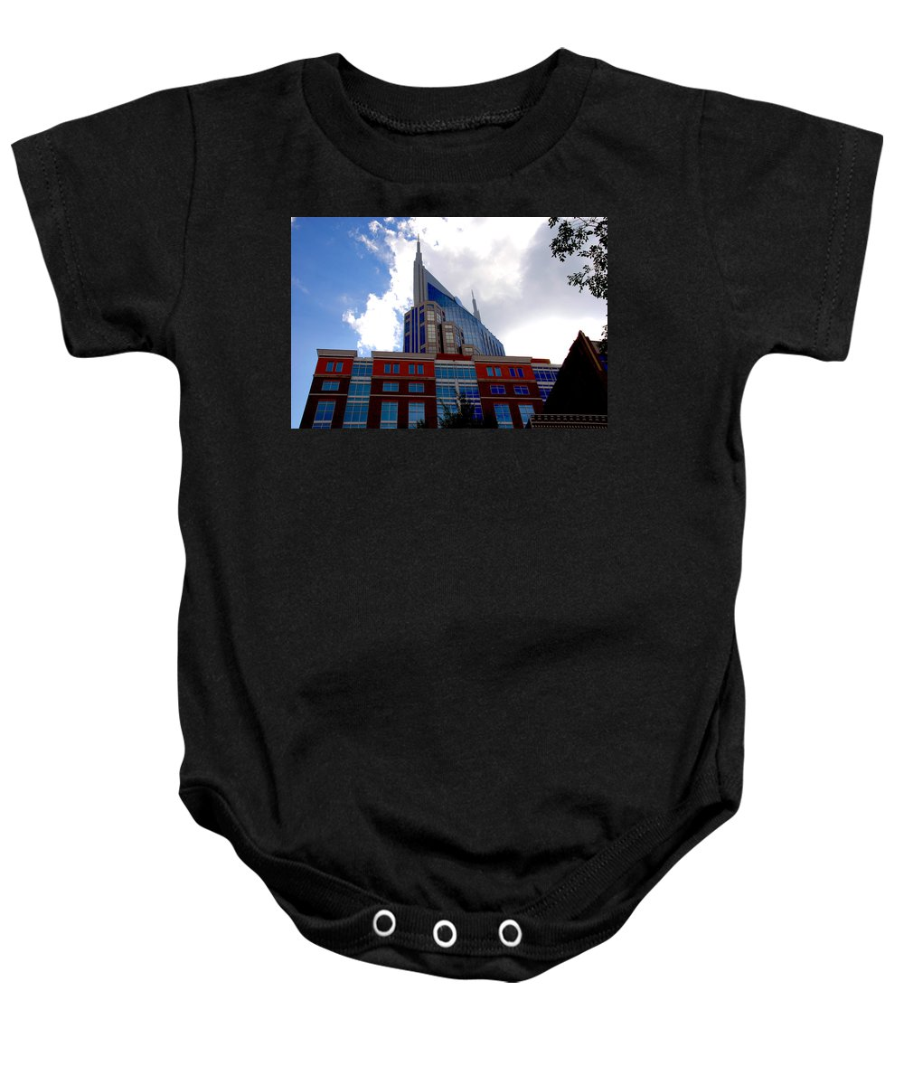 Nashville Baby Onesie featuring the photograph There Where Modern And Old Architecture Meet by Susanne Van Hulst