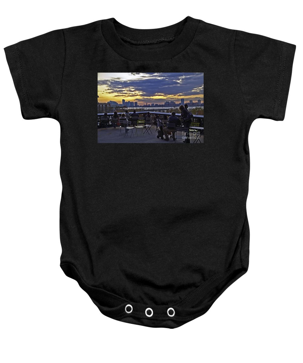 High Line Park Baby Onesie featuring the photograph They Came To Look by Madeline Ellis