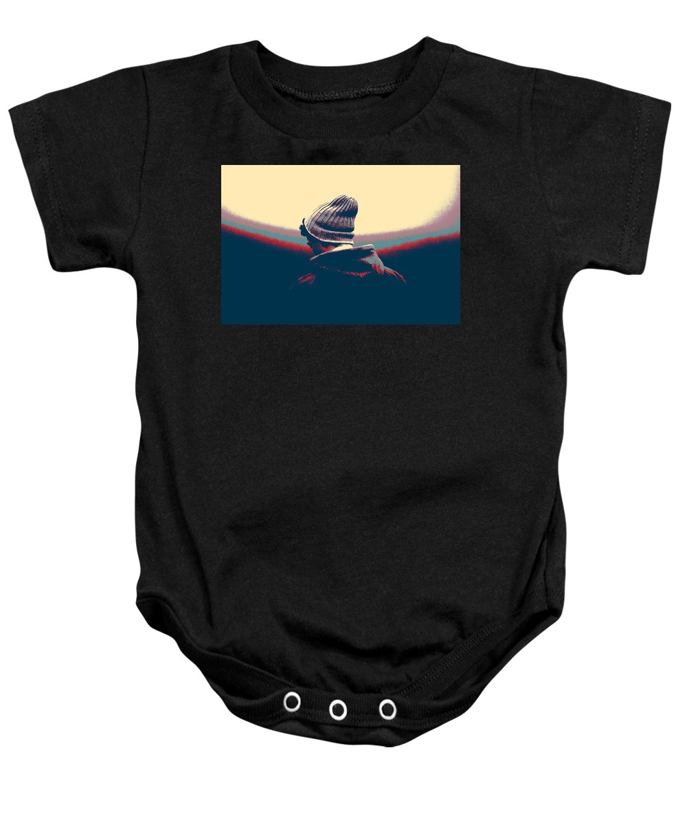 Man Baby Onesie featuring the painting Thoughful Youth by Celestial Images