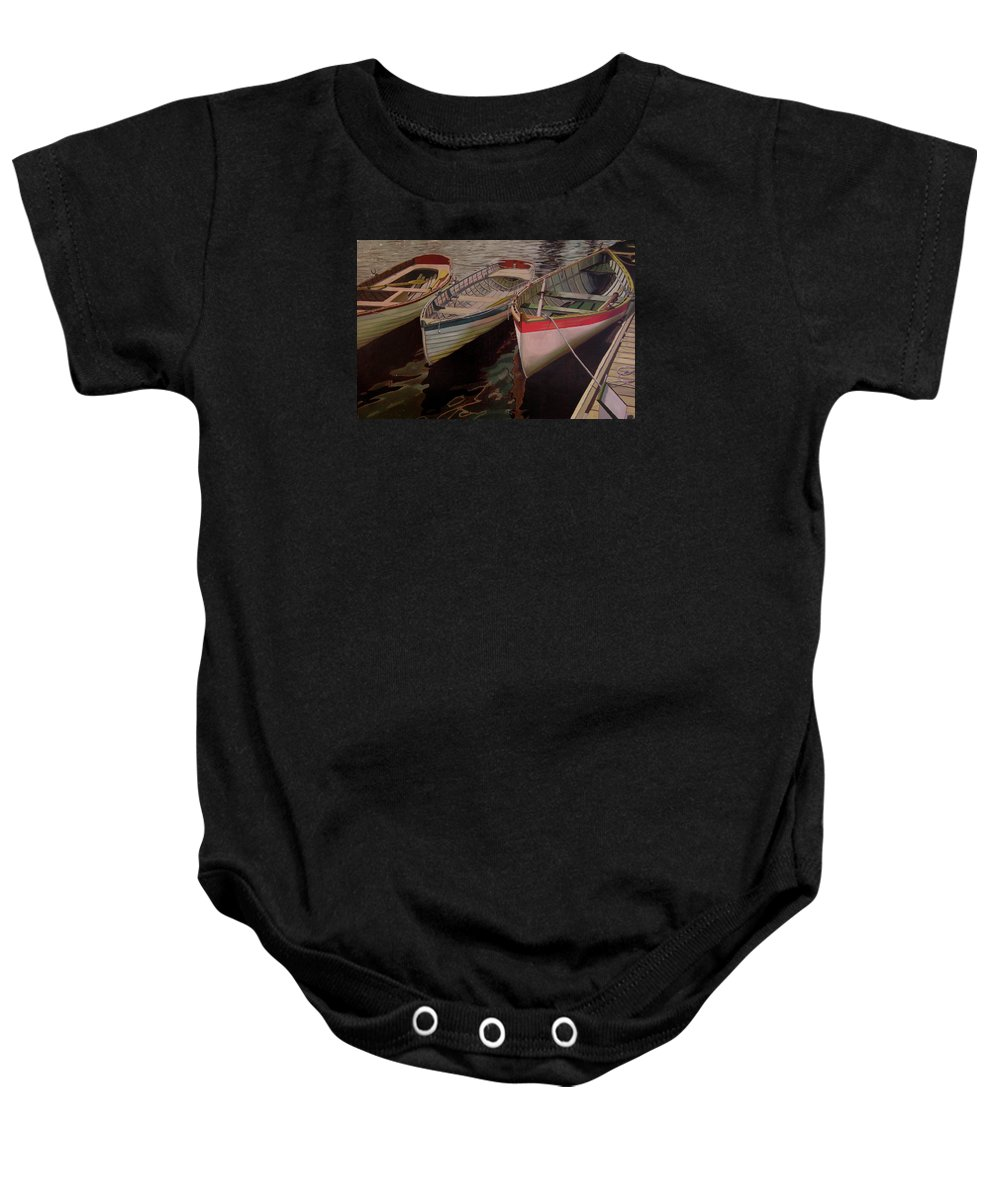 Boats Baby Onesie featuring the painting Three Boats by Thu Nguyen
