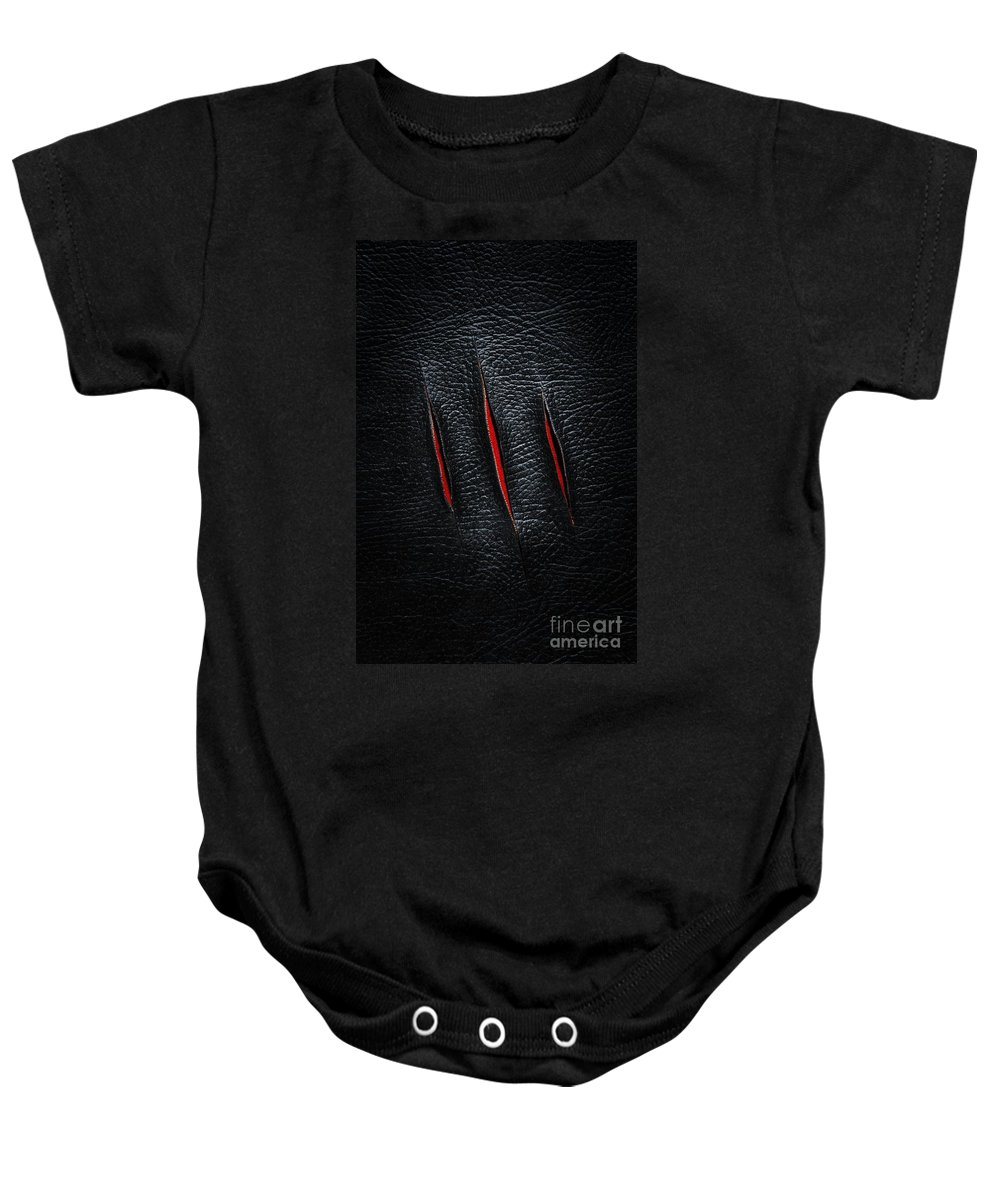 Razor Baby Onesie featuring the photograph Three Cuts by Carlos Caetano