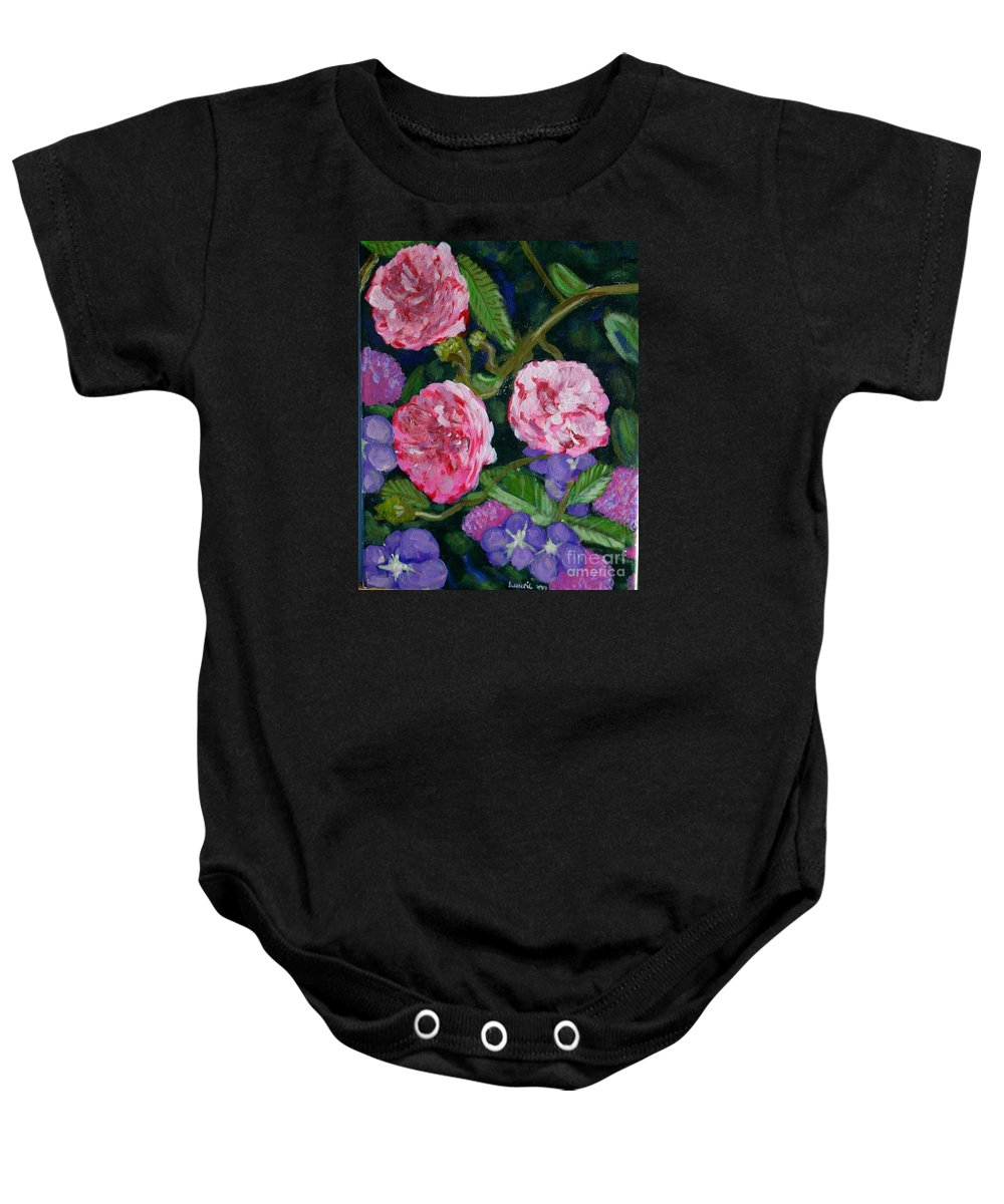 Roses Baby Onesie featuring the painting Three For The Show by Laurie Morgan