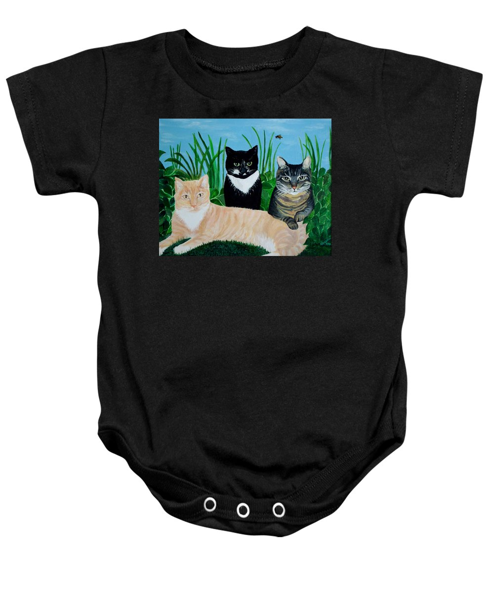 Landscape Baby Onesie featuring the painting Three Furry Friends by Elizabeth Robinette Tyndall