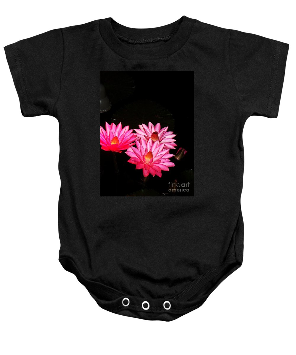 Photograph Baby Onesie featuring the photograph Three Night Lilies by Eric Schiabor