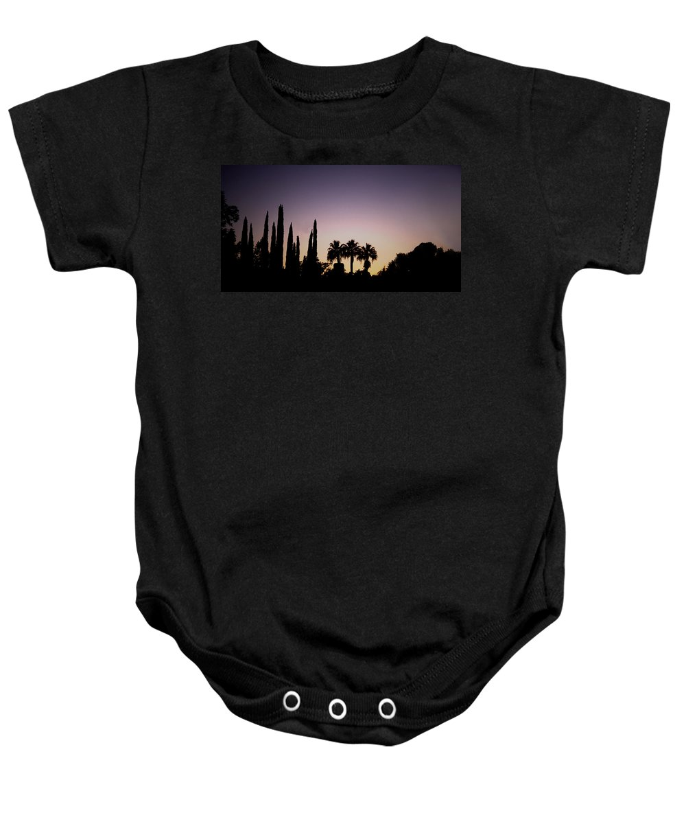 California Baby Onesie featuring the photograph Three Palms In California At Sunset by Teresa Mucha