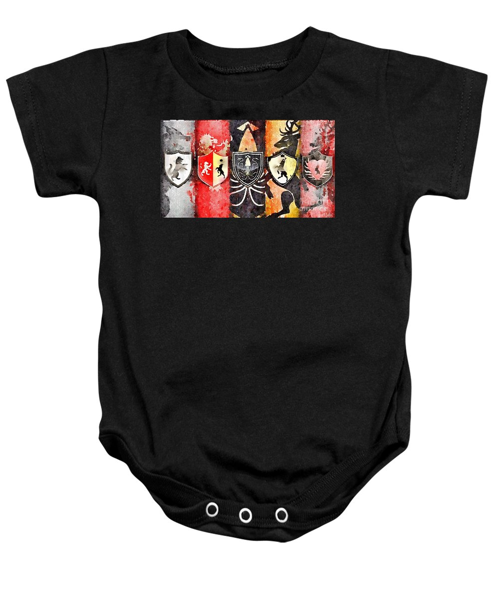 Game Of Thrones Baby Onesie featuring the painting Thrones by Helge