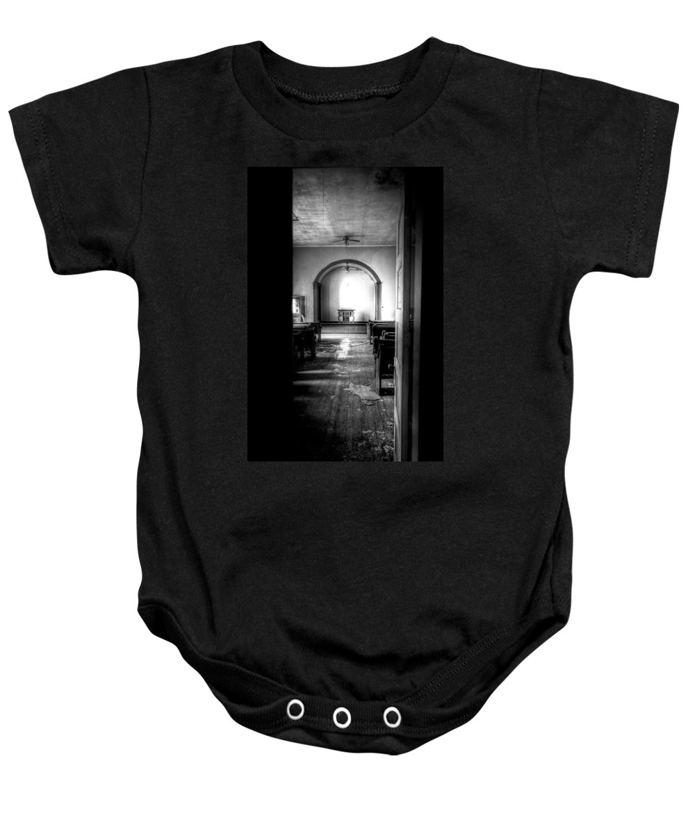 Church Baby Onesie featuring the photograph Through The Doorway by Jonny D